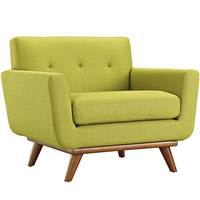 Engage Armchair Fabric Rubber Wood Legs Accent Chair in Wheatgrass