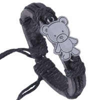 Cute Teddy Bear Charm Genuine Leather Belt Bracelet