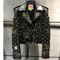 Ria Studded Leather Motorcycle Jacket