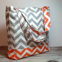Orange Beach Tote - Chevron Style Tote - Teen Beach Bag - Bridesmaid Gift Bag - Beach Wedding - Orange and Gray - Canvas Tote - Beach Bag