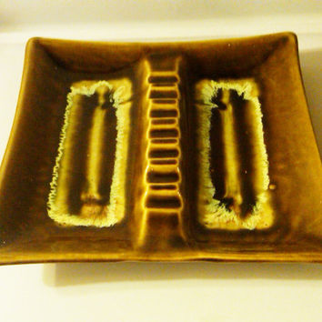 Mid Century Modern Ashtray, Green Glazed Ashtray, Mid Century Pottery, 10 inch Ashtray, 1960's Ashtray, Mad Men, Vintage Pottery