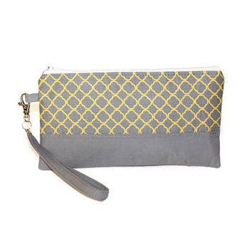 Gray and yellow clutch, wristlet, two-tone clutch, date night clutch, zipper pouch, bridesmaid clutch, bridal party gift, tea party bag.