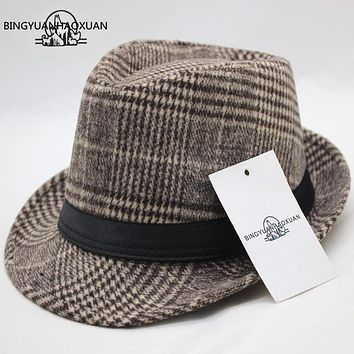 BINGYUANHAOXUAN Brand Men's Wool Flat Top Fedora Hat