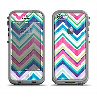 The Vibrant Pink & Blue Layered Chevron Pattern Apple iPhone 5c LifeProof Fre Case Skin Set