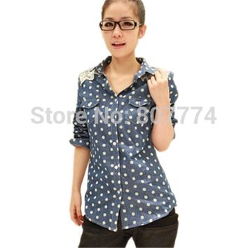 Women Denim Blouses Retro Polka Dot Lace Shoulder Long Sleeve Tops jeans Shirt