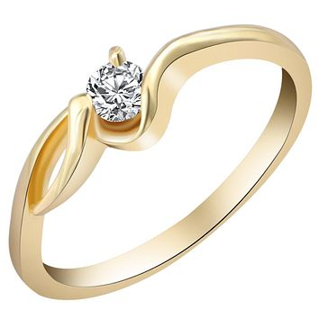 Luxury Brand Wedding Gold Color Unique Shaped Inlay Zirconia Cubic Ring for Women Engagement Gift