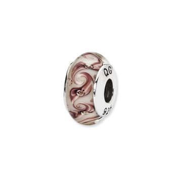 White, Mauve Swirl Hand-Blown Glass Bead & Sterling Silver Charm, 13mm