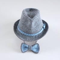 Tweed Baby Fedora and Bow Tie Set Newborn Photo Props Baby Shower Gift Crochet Baby Boy Trilby Hat Blue Grey Cotton Hat Cute Hats by Mila