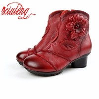 2017 New Winter Women Genuine Leather Boots Large Yard Winter Boots Solid Women Boots Warm Push Plush Winter Retro Shoes