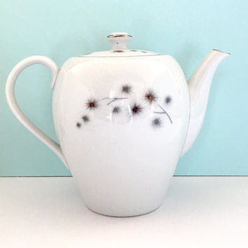 Vintage Retro Teapot, White, Coffee, Tea Server, Mid Century Modern 1950's China, Hollywood Regency, Vintage Kitchen Gift