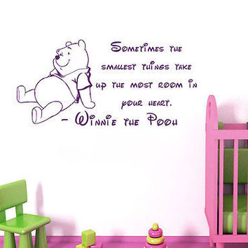 Wall Decal Quotes Winnie The Pooh Sometimes The Smallest Vinyl Sticker DA3673