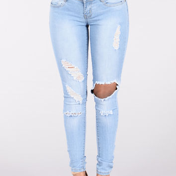 Pulling Heart Strings Jeans - Light Blue
