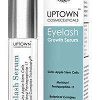 Eyelash Growth Serum for Long Eyelashes From Uptown Cosmeceuticals Contains Stem Cell & Myristoyl Pentapeptide-17, Dermatologist Lab Tested, Best Lash & Eyebrow Growth Product, 4 Months Supply, 3.5ml