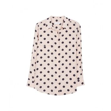 EQUIPMENT Slim Signature Nude Dot Print | Long Sleeve Silk Shirt