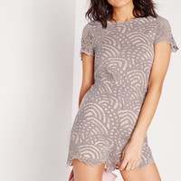 Missguided - Lace Short Sleeve Romper Grey