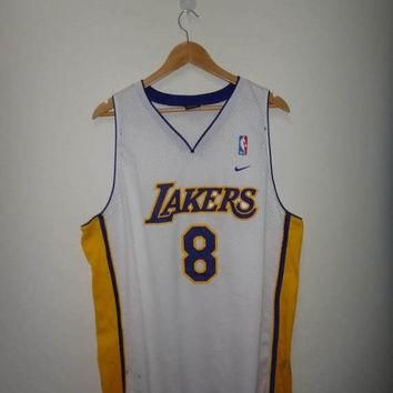 15% OFF Sale Rare Kobe Bryant NIKE Los Angeles Lakers #8 Jersey Stitch Used NBA Basket