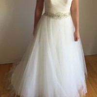 Sleeveless Wedding Dress with Removable Beaded Sash Custom Size 0 2 4 6 8 10 12