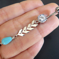 Chevron Belly Button Ring Jewelry Tribal Turquoise Long Charm Drop Navel Piercing Bar Barbell Bellyring