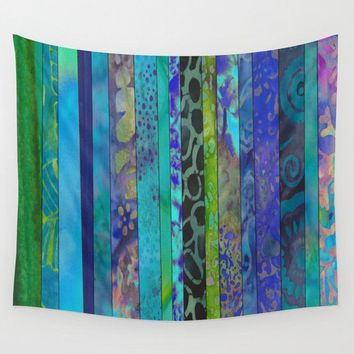 Boho Blues Stripe Wall Tapestry,  batik, blue, teal, green, boho chic, apartment, dorm room decor