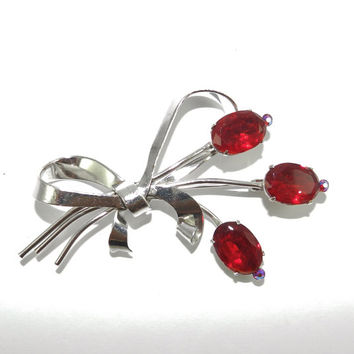 Beautiful Vintage Rhinestone Brooch Signed CORO Rich Siam Red RS Flowers Silver Tone Finish Bride Bouquet