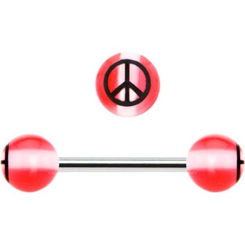 Pink Stripe Acrylic Peace Sign Barbell Tongue Ring
