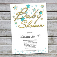 Gold Baby Shower Invitations Gender Neutral Baby Shower Invites Gold Baby Shower Invitation for Boy Girl - FREE Thank You card (V10)