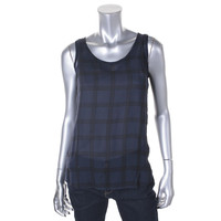 The Fisher Project Womens Silk Window Pane Tank Top