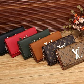 LV Louis Vuitton Women Shopping Leather Chain Satchel Shoulder Bag Crossbody