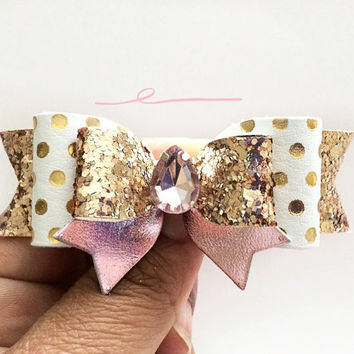 Girls Baby Gold and White Polka dot bow, Pink white and gold Hair Bow, Birthday bow hair clip with rhinestone, Glitter Bow, Glitter Headband