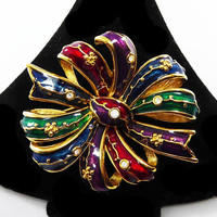 Jewel Tone Enamel Ribbon Bow Pin, Signed Joan Rivers Brooch, Clear Rhinestones, Gold Tone Setting, Vintage 1980s 1990s Costume Jewelry