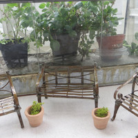 Terrarium Antiqued Garden Bench Chairs Clay Pots with Moss Fairy Garden
