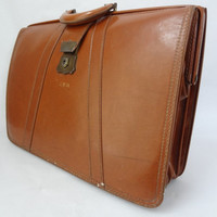 Vintage leather briefcase retro office storage 50s 60s