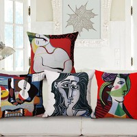World Famous Paintings Picasso One Side Printing Home Decor Sofa Car Seat Decorative Cushion Cover Pillow Case Capa Almofada