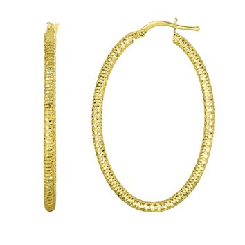 14K Yellow Gold Hanging Shiny Open Square Textured Open Oval Drop Earring
