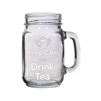 Keep Calm and Drink Tea Engraved Etched for Wedding, Engagement Anniversary Bridal Party for Newlyweds 16 oz Mason Jar Glass Mug for Tea Enthusiasts
