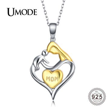 Beautiful! Silver And Gold Mother And Child Necklace