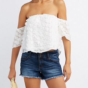 Floral Applique Off-The-Shoulder Top