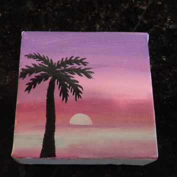 Sunset and Palm Tree Painted Canvas