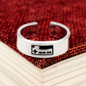 Classic Gaming Controller Ring - Video Game Jewelry - Nintendo - Adjustable Aluminum Cuff Ring