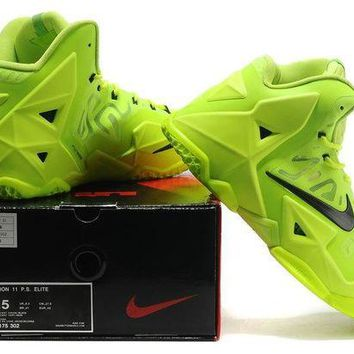 "LeBron 11 XI P.S Elite ""Fluorescent green/black"" Sneaker Shoe"