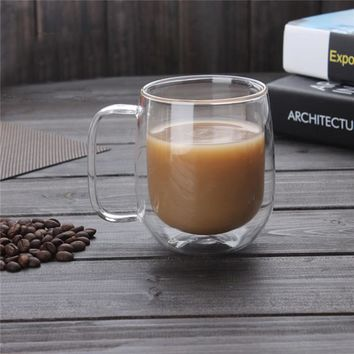 300ml Handmade Heat Resistance Double Wall Clear Glass Cup Coffee Milk Tea Beer Mug Transparent Drinkware