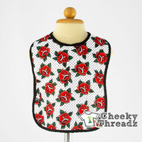 Red/White Roses Baby Bib Cool and fun infant baby bibs