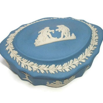 Vintage Genuine Wedgewood Jasperware Trinket Box with Lid - Scalloped Oval Lidded Blue and White Box