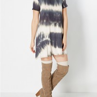 Gray Tie-Dye Tent Dress