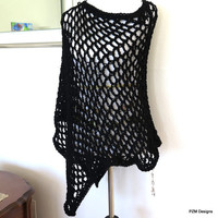 Black asymmetrical poncho, hand crochet evening wrap, simple black poncho