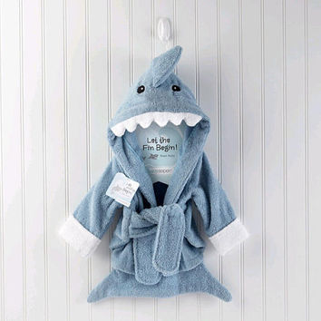Baby Aspen 'Let the Fin Begin' Terry Shark Robe - Blue (0-6 Months)
