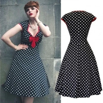 "New women's vintage accessory sexy v neck classic polka dot print bow tie swing dress pin up rockabilly dress 1950""s retro fashion party dress"
