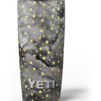 Black and Gold Watercolor Polka Dots Yeti Rambler Skin Kit