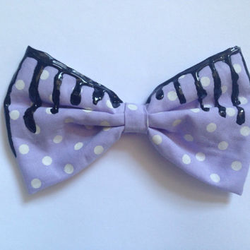 Pastel Purple Melting Hair Bow Polka Dot Dripping Goth Gothic Pastel Goth Creepy Cute