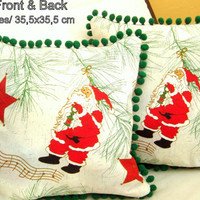 Santa Christmas 14x14 pillow cover – Green pompom cushion